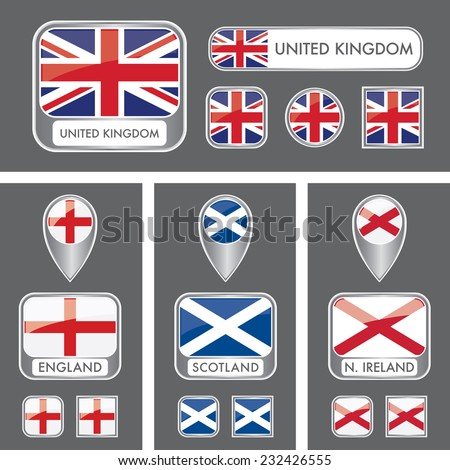 A collection of vector flag icons that includes the U.K. flag and the individual flags of the countries in the United Kingdom. - stock vector