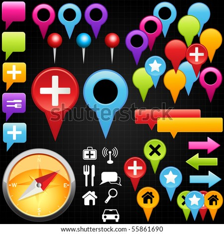 A collection of vector map pointer. - stock vector