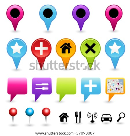 A collection of vector map pointers. Vector. - stock vector