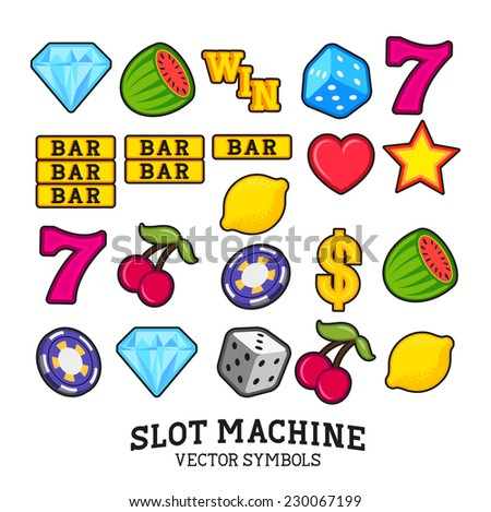 A collection of vector Slot Machine / fruit machine Symbols - stock vector