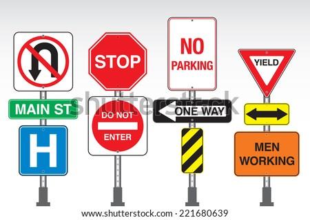 A collection of vector street signs attached to posts. - stock vector