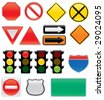 A collection of vector traffic signs and map symbols. Stop, yield, traffic lights, interstate and highway signs, one way, detour, construction sign, railroad, do not enter. - stock vector
