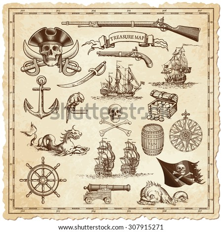 """A collection of very high detail ornaments designed to illustrate vintage or """"treasure"""" maps - stock vector"""