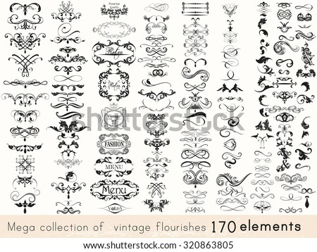 A collection of vintage style flourishes 170s elements for design.Mega vector set - stock vector