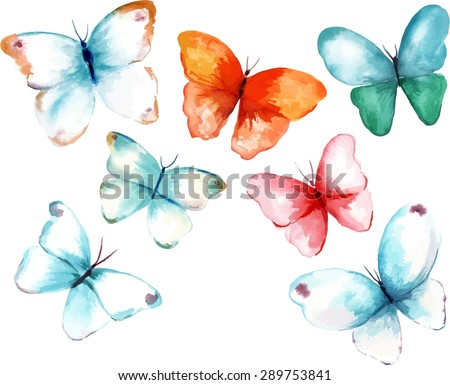 A collection of watercolour butterflies, scalable vector drawings - stock vector