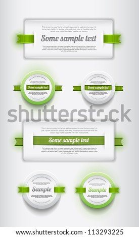 A collection of white vector plastic badges / banners with green ribbons - stock vector