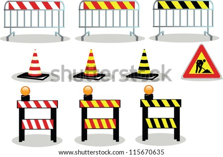 A collection of Work in Progress signs - stock vector