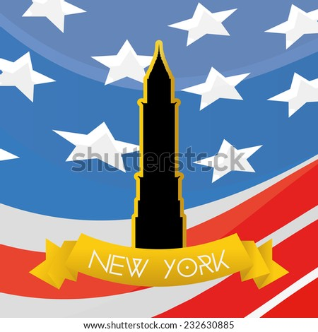 a colored background with the american flag and the chrysler building - stock vector
