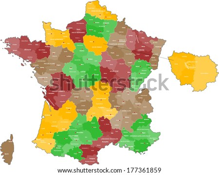 A colored map of France. - stock vector