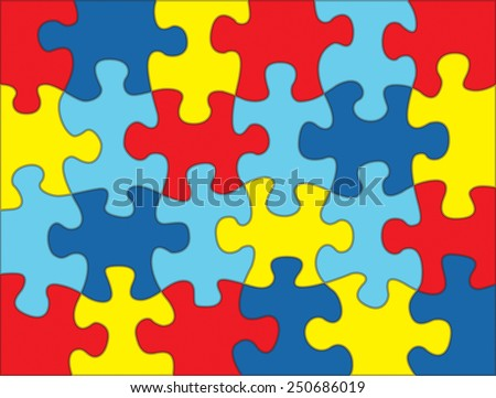 A colorful autism awareness puzzle background illustration. Vector EPS 10. - stock vector