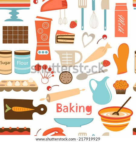 A colorful baking  semaless wallpaper. Vertor format - stock vector