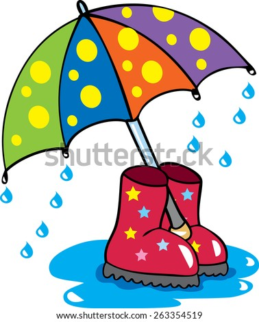 Rain drops with umbrella clip art