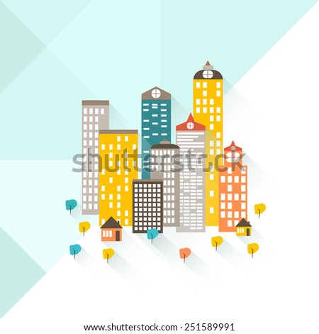 A colorful illustration of a city and suburban area. The bottom of the image is a suburban area