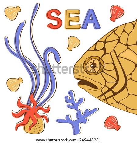 A colorful illustration of exotic pinecone fish in vector format - stock vector