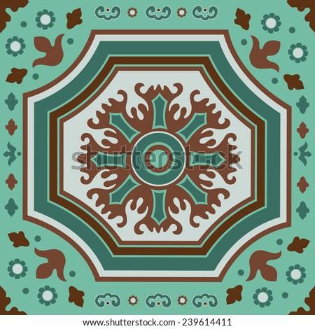 A colorful Portuguese azulejo tile. vector illustration - stock vector