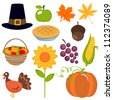 A colorful set of  Thanksgiving icons - stock vector