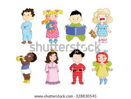A colorful set of toddlers wearing pajamas and getting ready to sleep.