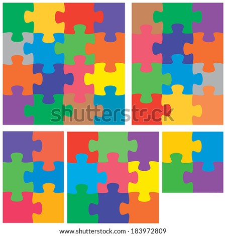 A colorful variety of flat jigsaw puzzles.  - stock vector