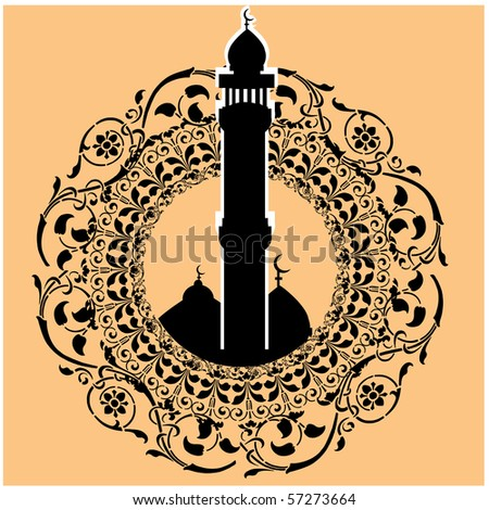 a colorful vector illustration of a masjid art in silhouette - stock vector