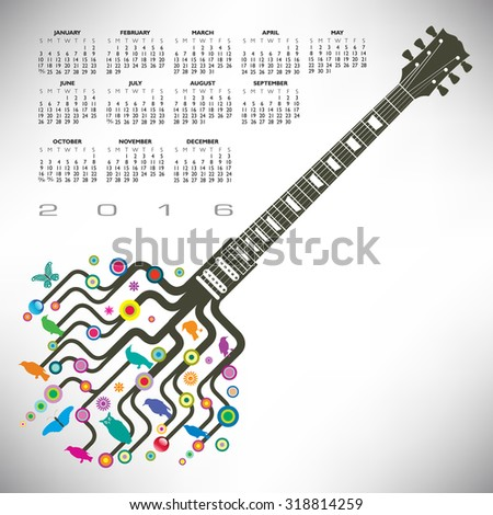 A 2016 Colorful, whimsical, funky guitar calendar - stock vector