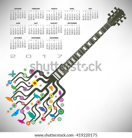 A 2017 Colorful, whimsical, funky guitar calendar  - stock vector