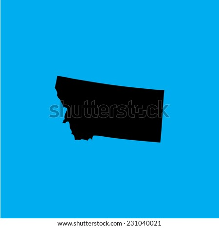 A Coloured background with the shape of the united states state of Montana - stock vector