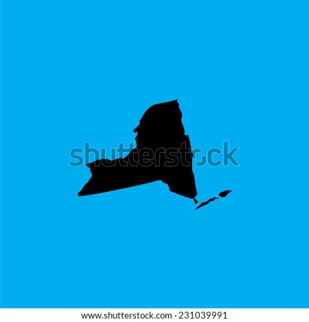 A Coloured background with the shape of the united states state of New York - stock vector