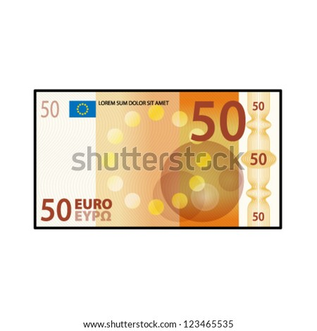A colourful $50 €50 bank note / paper money. - stock vector
