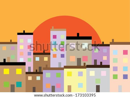A Colourful Housing Estate at Sunset. Vector - stock vector