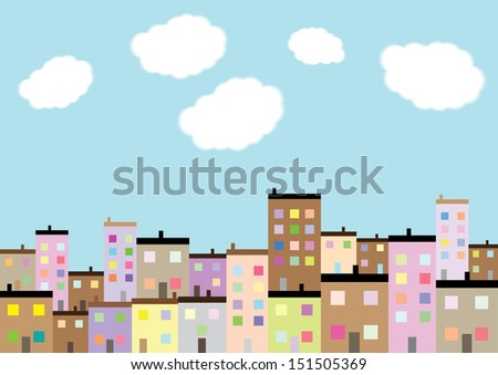 A Colourful Housing Estate. Vector - stock vector