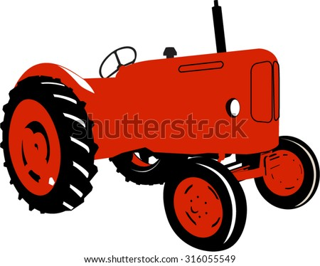 A Colourful Vector Illustration of a Vintage Tractor - stock vector