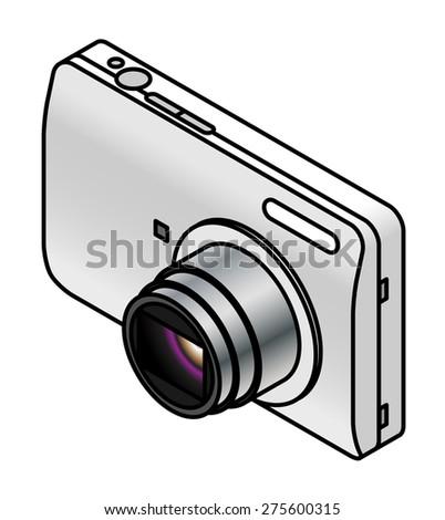 A compact digital camera. White/silver. - stock vector