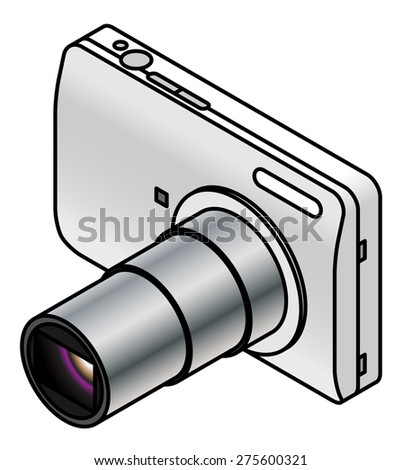 A compact digital camera. White/silver, with lens extended. - stock vector