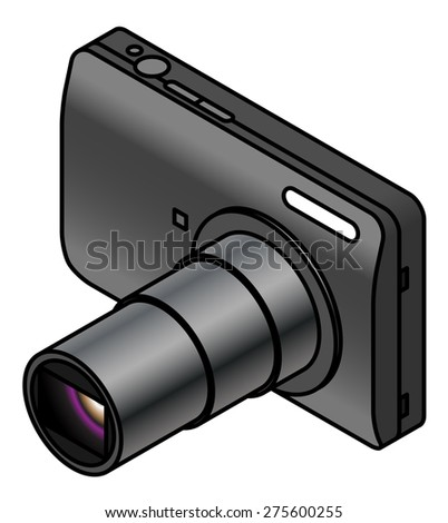 A compact digital camera. With lens extended. - stock vector