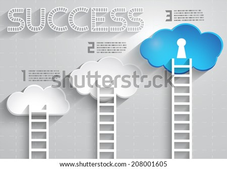 A Competition concept with Ladder and clouds, Step by step, Vector EPS10 - stock vector