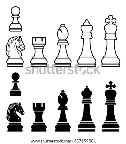 A complete set of chess pieces in black and white - stock vector