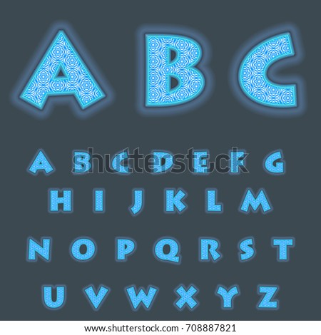 A complete set of Latin cyan  letters with a lace mesh inside. Font is isolated by a dark background. Letters are made in 3D shapes with smooth edges. Around the letters a blue backlight. Vector