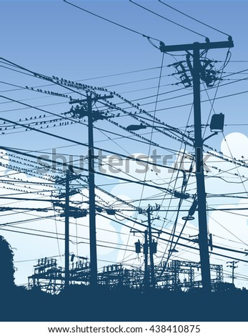 A complex maze of telephone poles and wires - stock vector