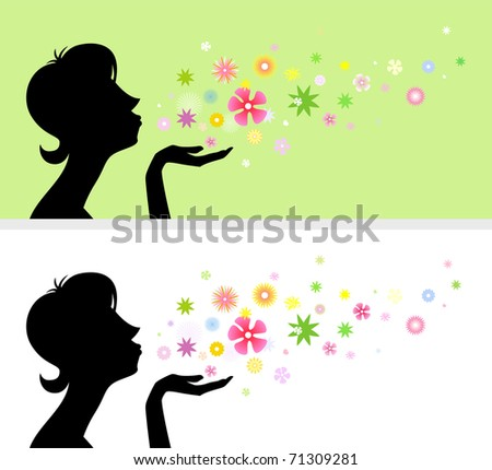 A composition with a female silhouette and flowers in two color gamma - stock vector