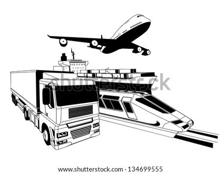 A conceptual cargo logistics transport illustration featuring a plane, truck, train and cargo ship - stock vector
