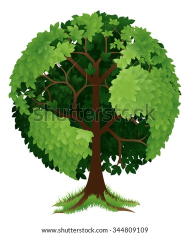 A conceptual illustration of a tree growing in the shape of a globe or the earth - stock vector