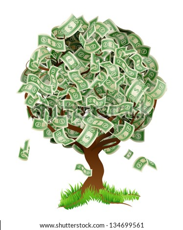 A conceptual illustration of a tree growing money in the form of dollar notes. Concept for profit or economic growth, earning interest or similar growing your money type theme. - stock vector