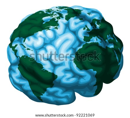 A conceptual illustration of a world globe in the shape of a human brain - stock vector