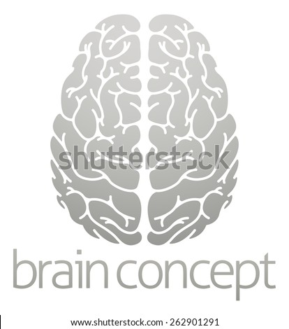 A conceptual illustration of the human brain from the top - stock vector
