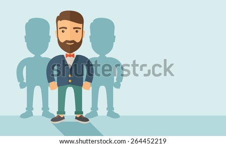 A confidently, contented young Caucasian hipster man with beard  happily standing showing that he is successful in life about teambuilding sprite. Happy, winner concept. A contemporary style with - stock vector