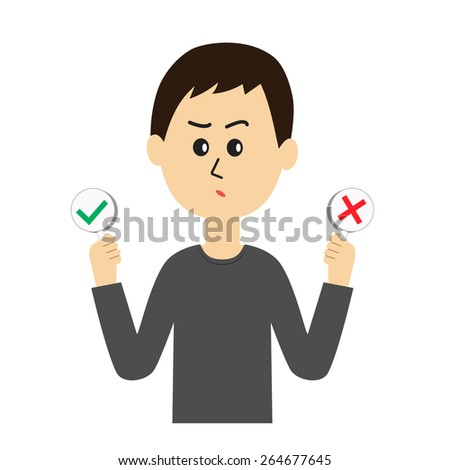 A confused young man with yes and no signs in his hands, vector illustration