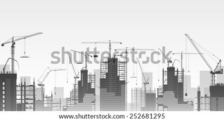 A Construction Site with Lots of Tower Cranes. Vector EPS 10 - stock vector