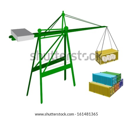 A Container Crane Lifting A Freight Container from Stack To A Ship, Container Crane Is A Heavy Machine for Loading and Unloading Container from Container Ship.  - stock vector
