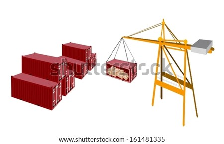A Container Crane Lifting A Red Freight Container from Stack To A Ship, Container Crane Is A Heavy Machine for Loading and Unloading Container from Container Ship.  - stock vector