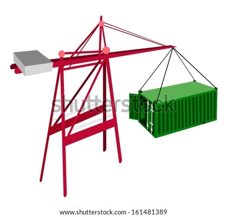 A Container Crane Lifting An Open Green Freight Container from Stack To A Ship, Container Crane Is A Heavy Machine for Loading and Unloading Container from Container Ship.  - stock vector